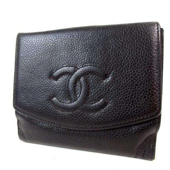 Chanel Handbags - Auth Chanel Cc Mark Wallet Caviar Skin #1640C66